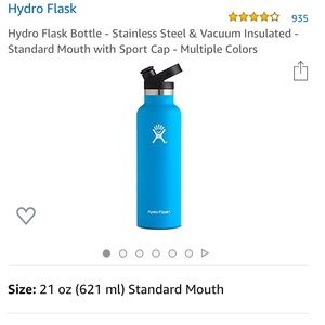 Hydro flask sports water bottle pacific blue 21 oz